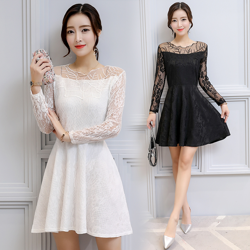 实拍摄秋季新款韩版一字领收腰显瘦气质长袖拼接网纱蕾丝连衣裙