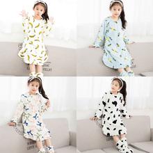 乔雅诗 冬天女童睡衣家居服睡裙法兰绒可爱卡通保暖珊瑚绒加厚