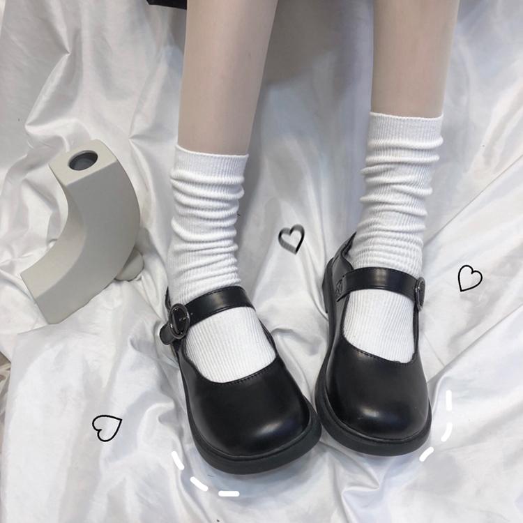 糖果色百搭中筒袜子女韩版潮流日系可爱学生jk制服纯色堆堆长袜棉