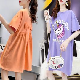 孕妇连衣裙纯棉短袖t恤女中长款夏季2020新款韩版宽松两面穿裙子