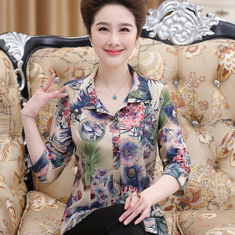 Moms autumn 7-sleeve printed shirt 40-year-old 60-year-old grandmas medium sleeve cardigan