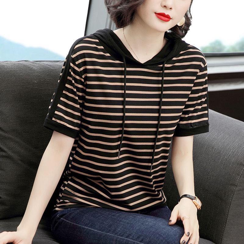 纯棉连帽条纹短袖t恤女士夏季2021新款韩版大码显瘦体恤上衣春秋