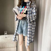 衬衣外套夏装 新款 防晒衫 宽松显瘦大码 中长款 衬衫 格子长袖 女春秋季