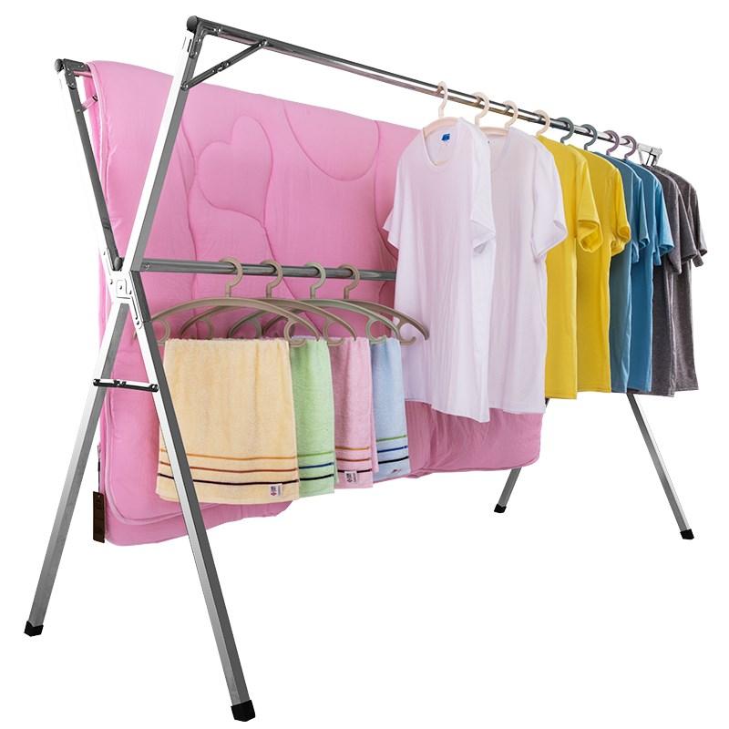 妙妻不锈钢晾衣架落地折叠室内双杆式晾衣杆阳台家用伸缩凉晒衣架