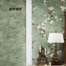 新中式刺繡墻紙梅花高端長纖無紡布壁紙中國風客廳臥室背景墻紙