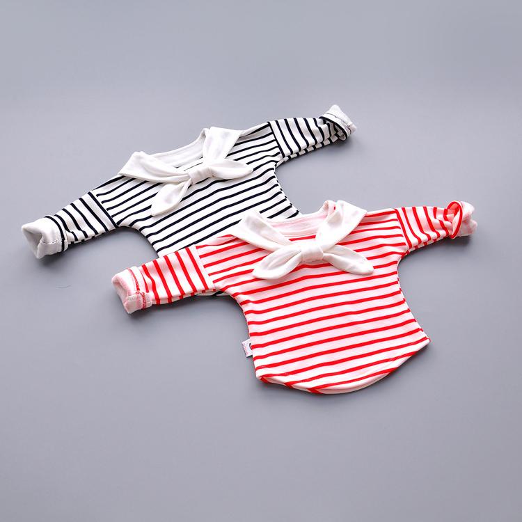 女童春秋条纹T恤女宝宝上衣婴儿2小童秋装长袖洋气打底衫冬季3岁1(用10.3元券)