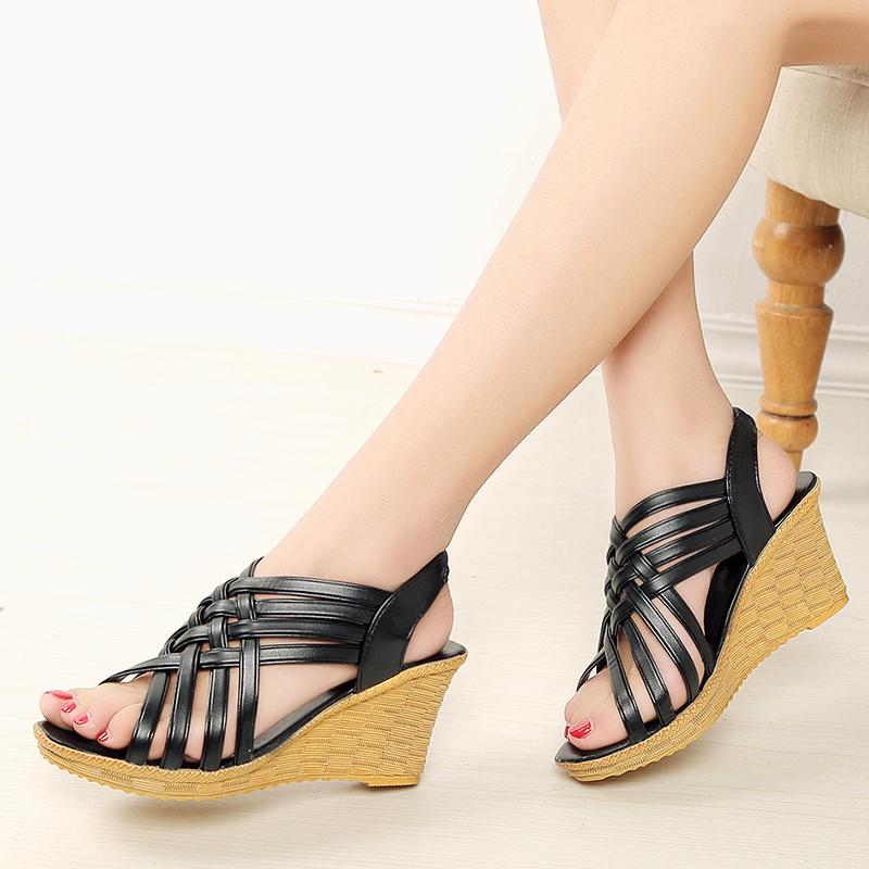 韩版新款甜美中高跟防水台女鞋罗马交叉绑带鱼嘴厚底坡跟凉鞋女夏