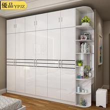 现代简约衣柜五六门烤漆整体板式大衣柜组装木质衣橱卧室家具组合