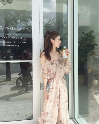 美美的夏夏:春装新款 超粉嫩露肩甜美小女人雪纺连体裤