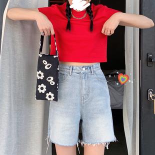 王少女的店 牛仔短褲 2020年夏季新款薄款黑白色高腰顯瘦休閒褲子