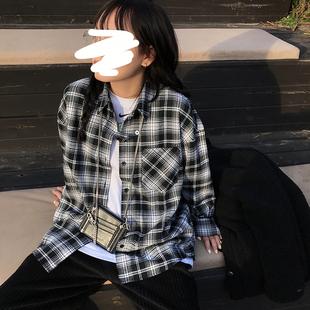 王少女的店 格子襯衫 2020春秋女百搭長袖寬鬆韓版設計感小眾上衣