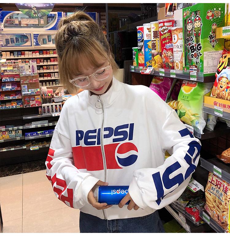 樱田川岛新款女装秋季百事可乐图案拉链外套宽松短款长袖卫衣女