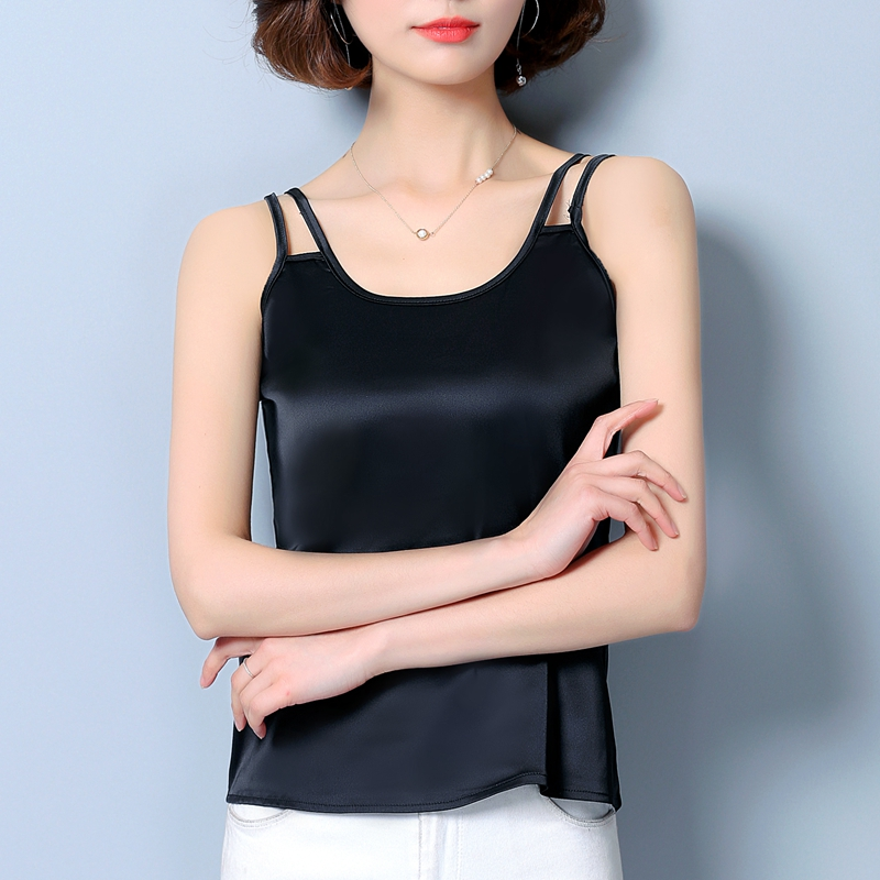 Silk satin waistcoat with double shoulders new sexy short blouse in spring and summer