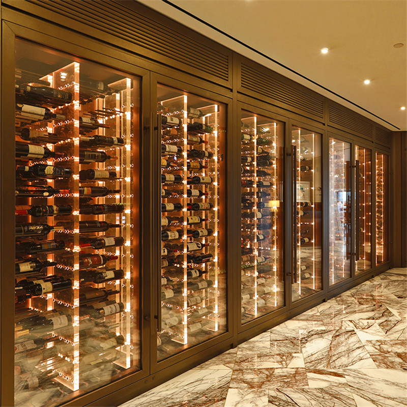 Stainless steel wine cabinet customized European family wine cellar wine rack bar display wine cabinet restaurant light luxury commercial thermostatic cabinet