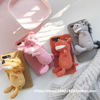 ins微笑大牙苹果6s可爱毛绒iphone7Plus 苹果X手机壳8plus保护套