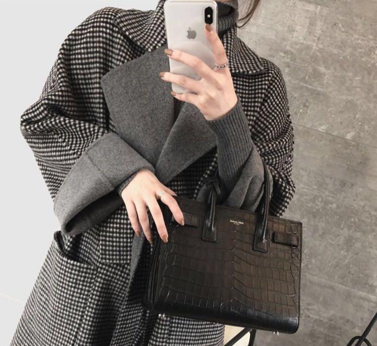 韩国女装明星同款毛呢外套2018秋冬新款双面羊绒中长款千鸟格大衣