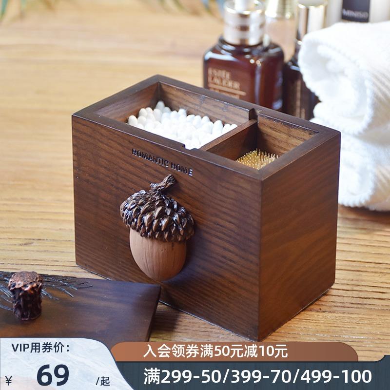 美式复古收纳创意潮流木质罐棉签盒