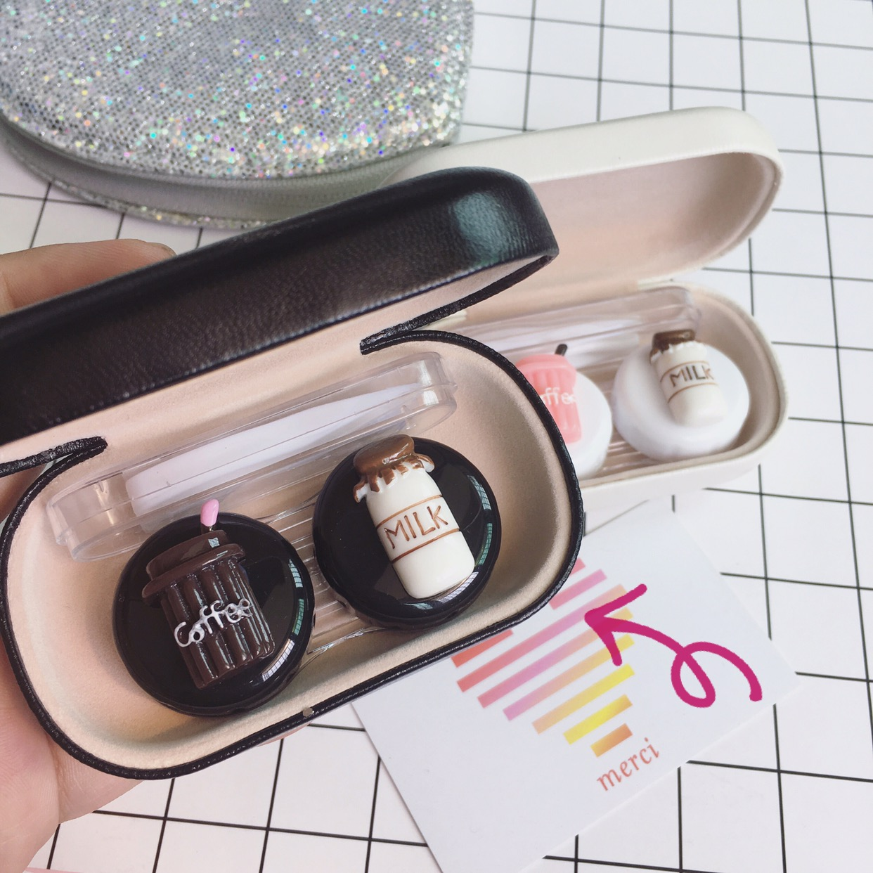 限3000张券一副装牛奶咖啡双联盒皮质眼镜盒近视隐形眼镜美瞳盒方便便携装