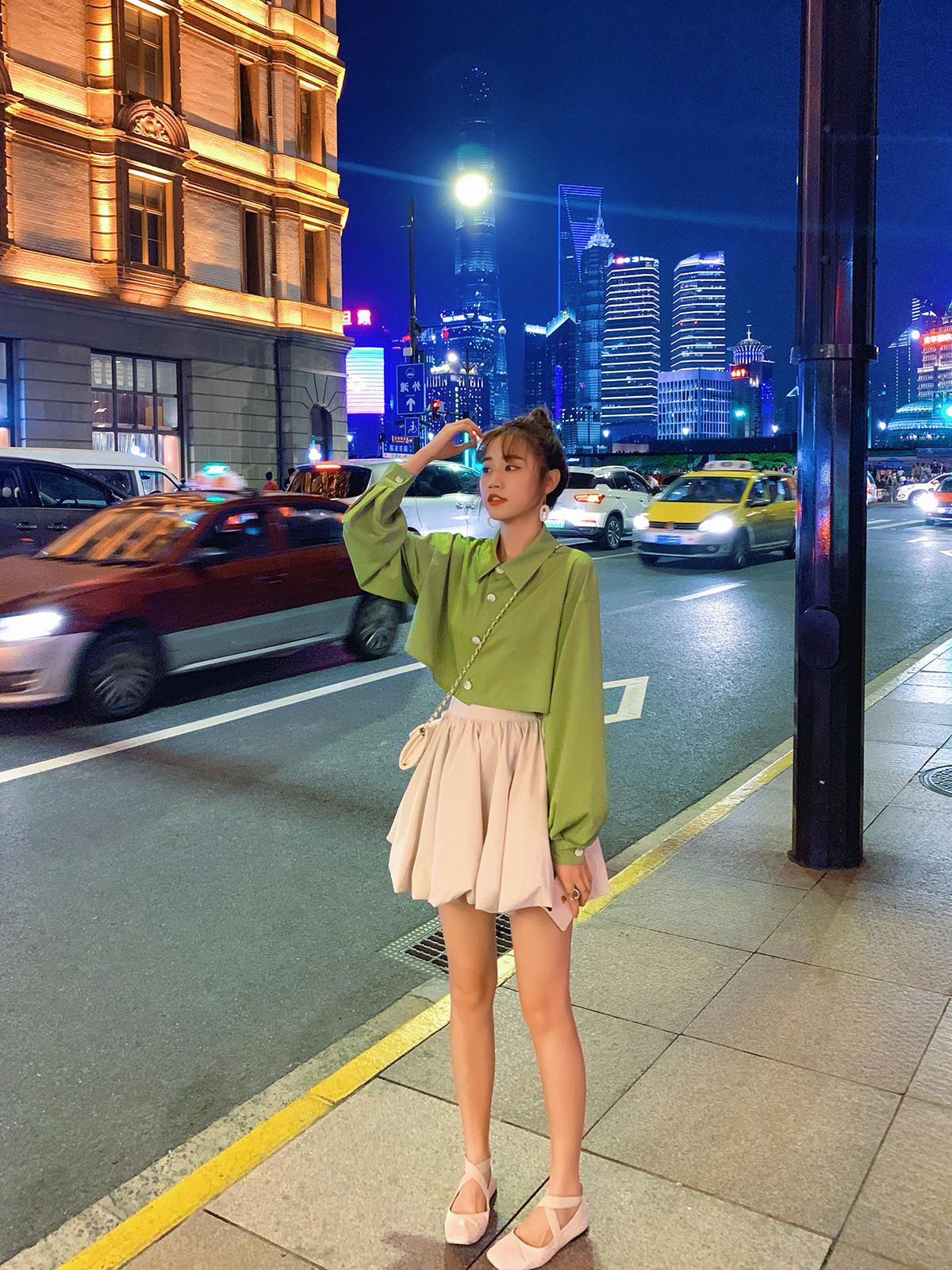 女2019新款夏装牛油果绿衬衫半身裙限1000张券
