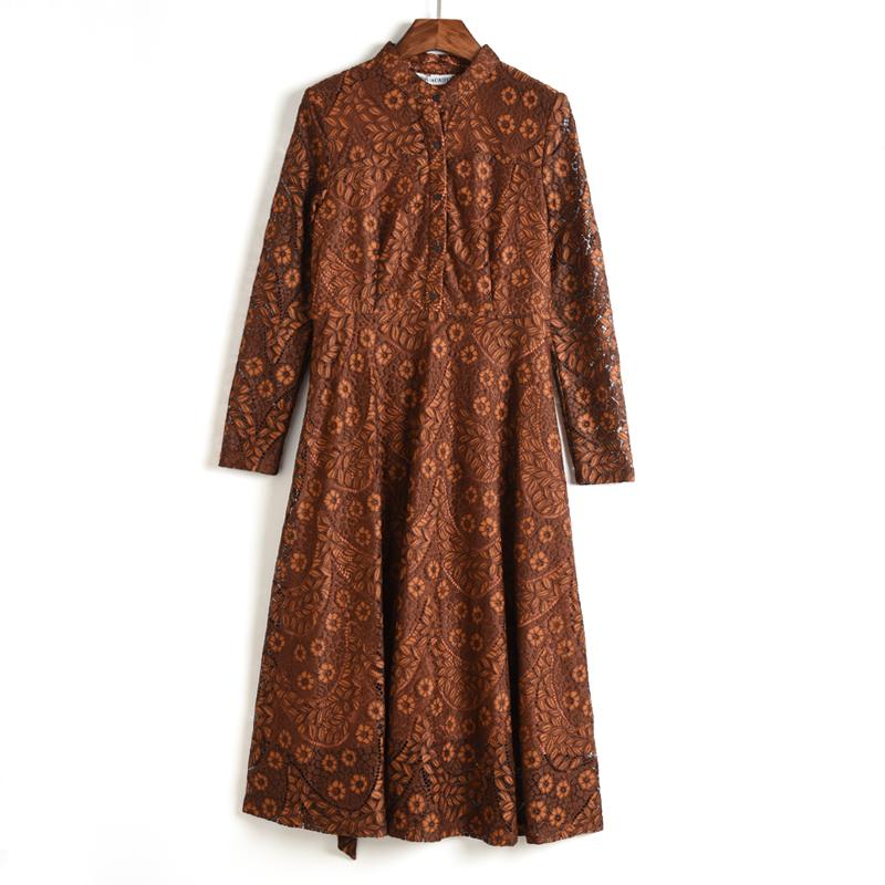 精品汉货 都市女装 HH系列 2018秋款新品 系带蕾丝连衣裙修身长裙