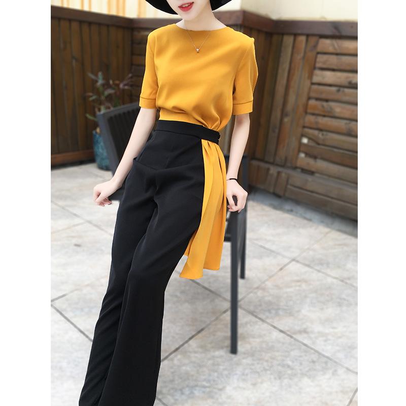 2020夏季新款 时尚气质女神范短袖撞色连衣裤阔腿裤黄色连体裤女