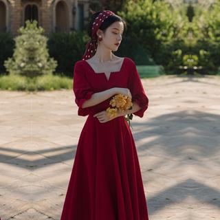 法式复古赫本风茶歇桔梗裙连衣裙收腰显瘦气质长裙2021年新款夏季