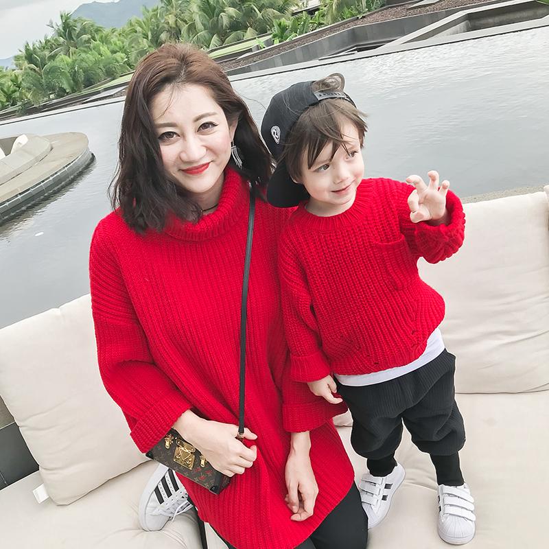 Небольшой лес домой корейский высокий воротник детской одежды свитер 2018 новый год наряд мать и дитя наряд мать и дочь значительно загружен тонкий свитер