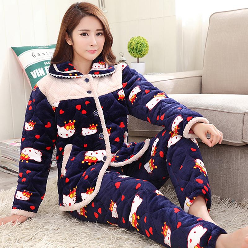 冬のサンゴの長袖ミンクの三階に綿の入った女性用綿入れのパジャマを厚くしてください。