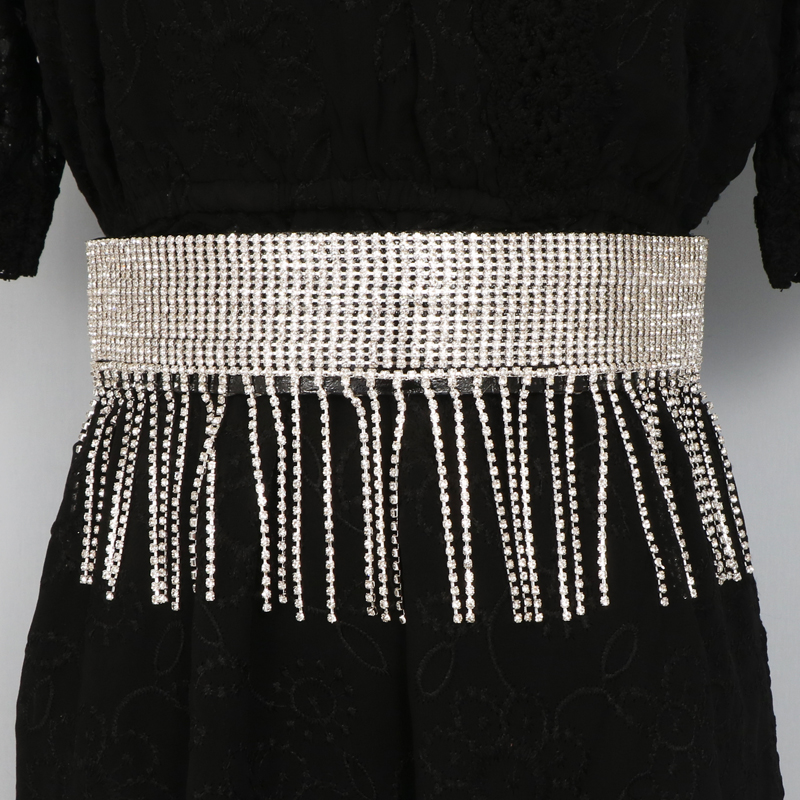 Europe and the United States sparkling Rhinestone long tassel elastic waist covered with meat belt decorative dress with shirt belt