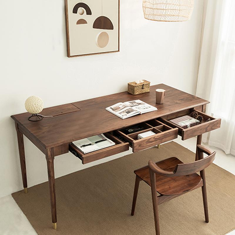 北アメリカの木のシンプルな黒胡桃の木さくらんぼの木の日本式の軽い贅沢なコンピュータの机のオフィスはガラスの机を注文して作らせます。