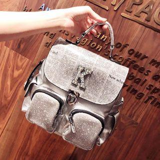 韩国小CK超火的软皮镶钻双肩包女2019新款时尚真皮多用背包百搭潮