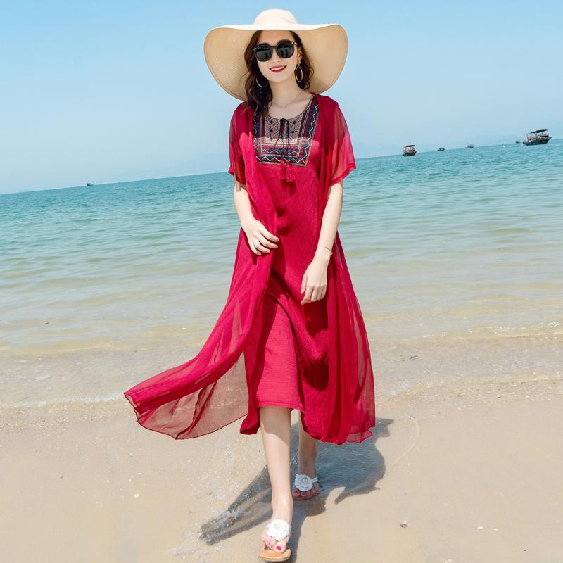 巴厘岛沙滩裙女夏海南三亚新款海边度假民族风雪纺海滩连衣裙