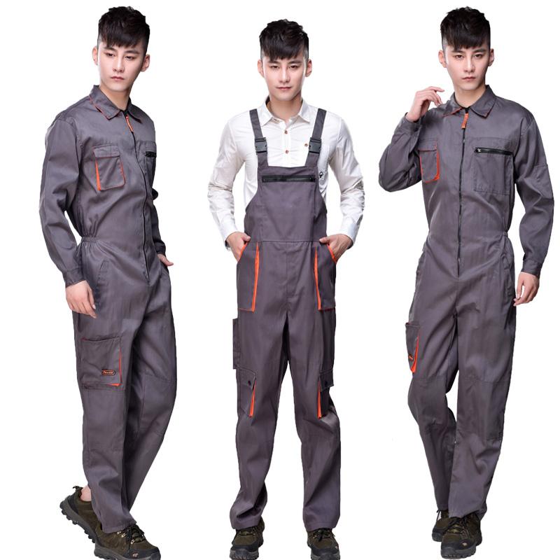 夏季连体工作服套装男背带裤子汽修机修工程机械透气女劳保服包邮