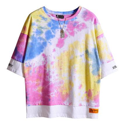 日系原宿风扎染彩虹短袖男生t恤