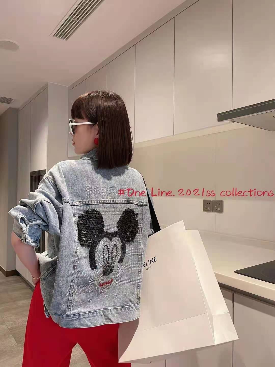 European station heavy industry Sequin Mickey Mouse Jeans Jacket Womens 2021 spring and autumn loose jacket Baseball Jacket fashion