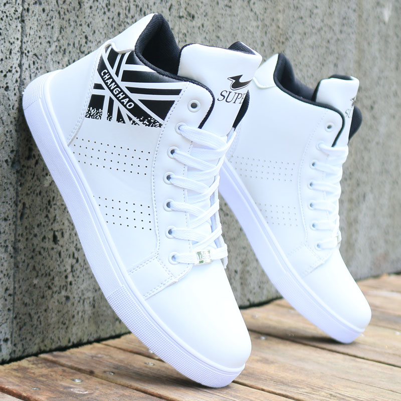Spring and autumn new white high top board shoes mens shoes fashion shoes Korean version British trend leisure sports shoes small white shoes