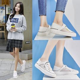 两穿真皮小白鞋女2020夏季新款透气网面百搭运动鞋可踩后跟潮板鞋图片