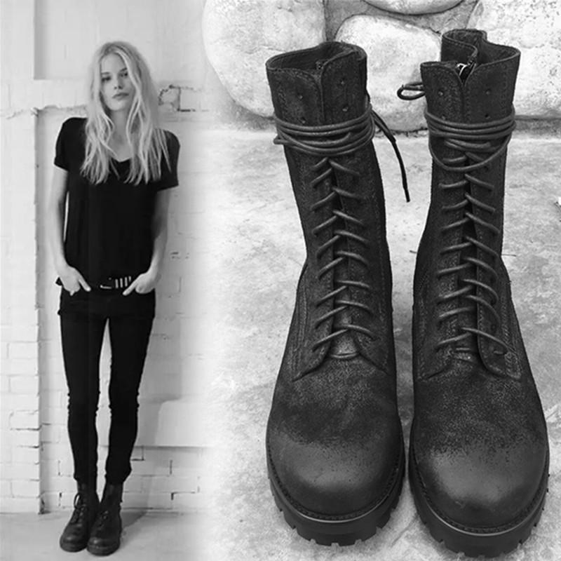 欧美英伦风马丁靴机车靴磨砂牛皮黑色骑士靴系带平底中筒短靴女