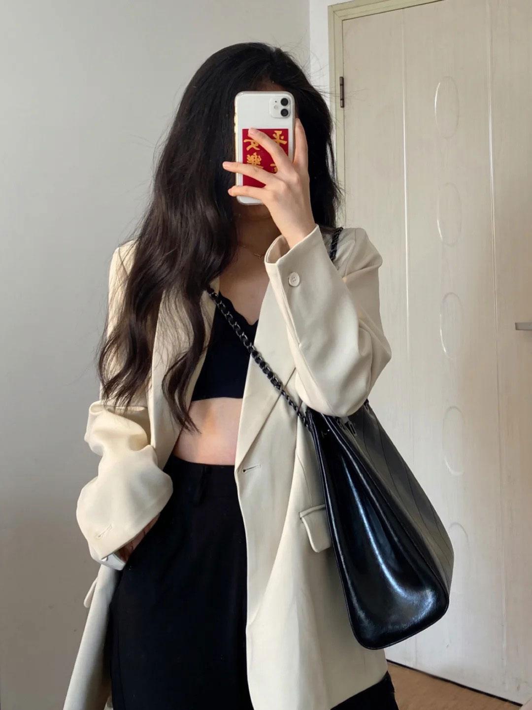 2021春秋新款西装外套女休闲廓感韩版小个子气质宽松炸街西服口袋