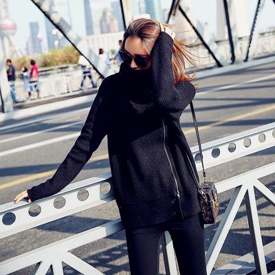 2017秋冬新款 大货已出 黑色高领拉链毛衣 8312-8059-P110