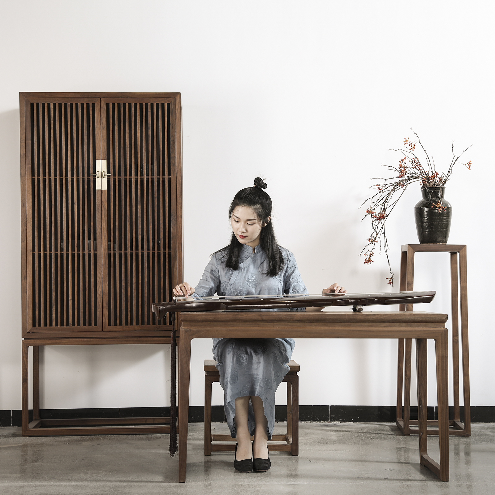 玄木禅意新中式黑胡桃实木琴桌文房家具书桌白蜡木写字桌明式
