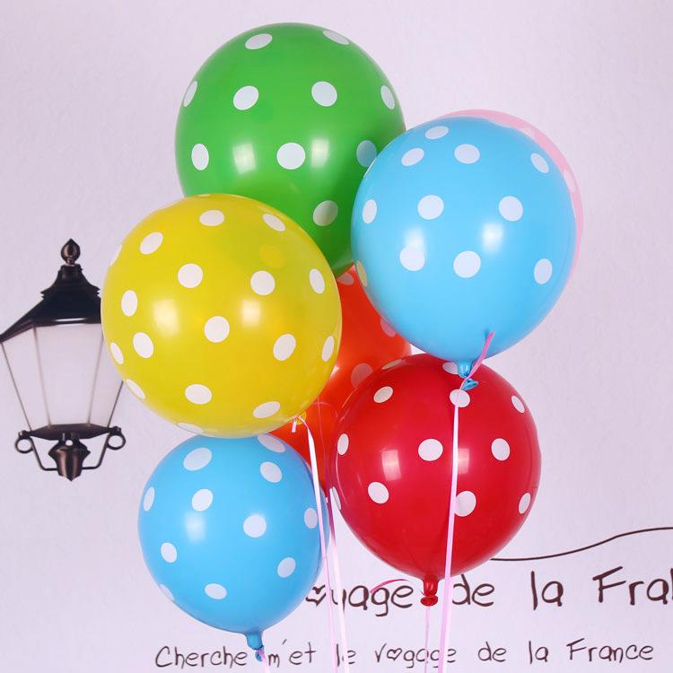 12寸2.8克加厚儿童印花卡通街卖乳胶气球100只装混色生日派对装饰