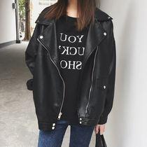 秋冬新款韩版宽松黑色机车PU皮衣女大码显瘦休闲夹克夹棉加绒外套
