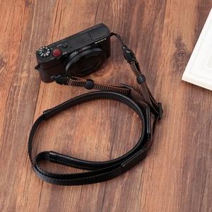 适用索尼黑卡RX100M3M4M5M6理光GR2GR3G7X23微单相机羊皮背带肩带