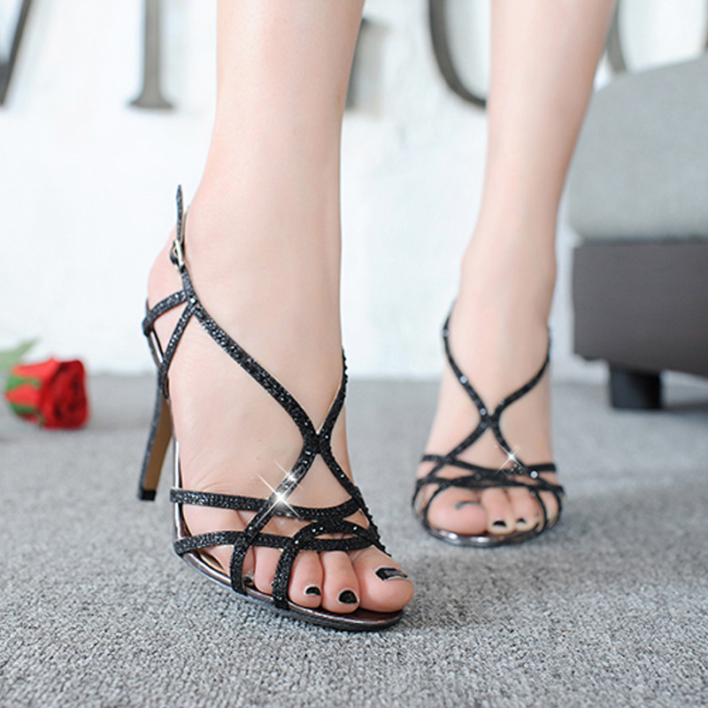 2020 summer new European and American sexy high-heeled sandals cross strap 10cm slim heel water drill open toe Roman shoes