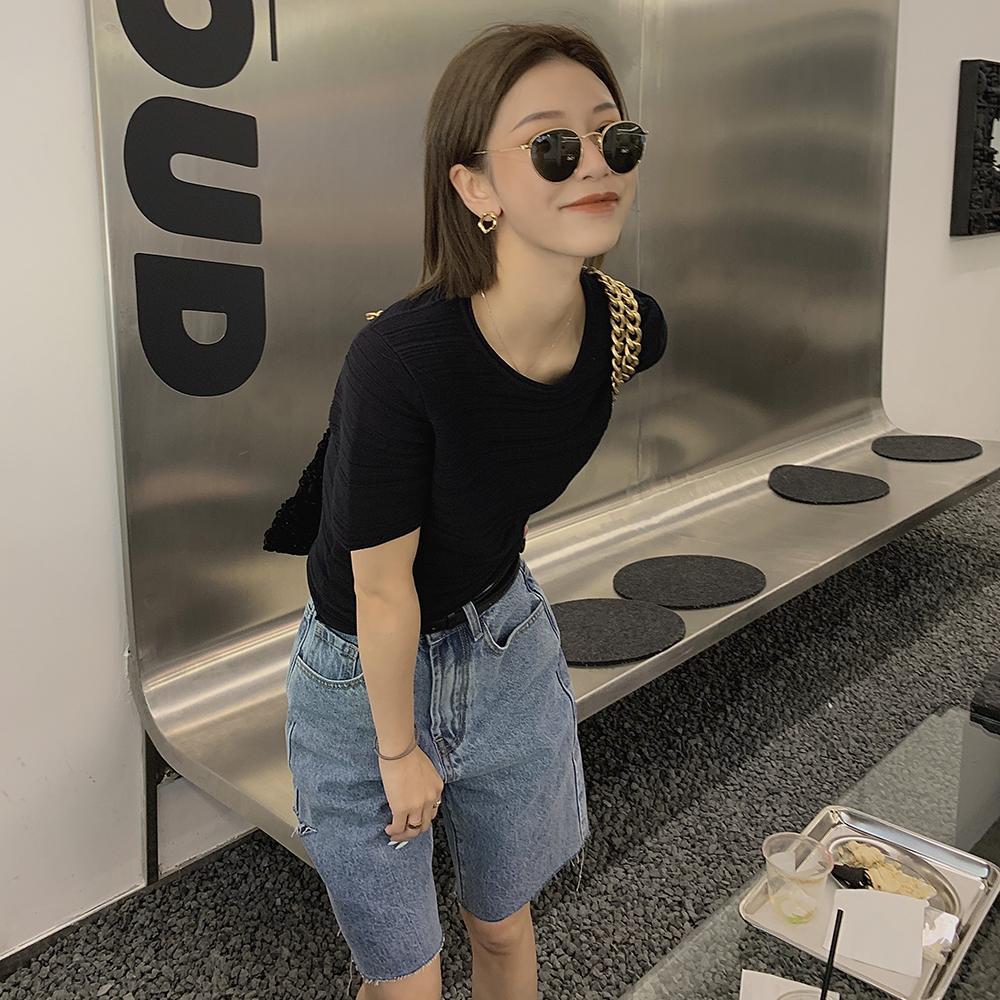 Ayuko黑色短袖t恤女装2021夏新款纯棉设计感别致薄款针织衫上衣潮