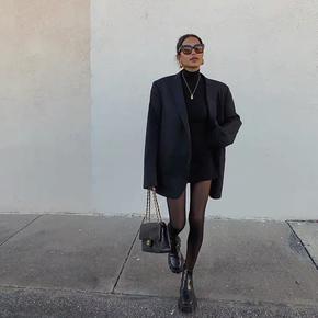 2020秋季新款复古宽肩西装外套中长款街头宽松休闲西服长袖上衣女