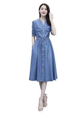 天丝牛仔连衣裙夏2021新款牛仔裙子