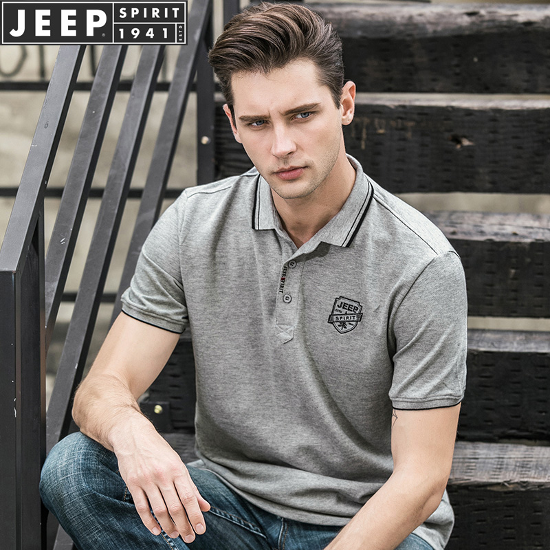 American Jeep / Jeep official authentic mens Polo Shirt Short sleeve t-shirt mens Lapel casual half sleeve cotton summer