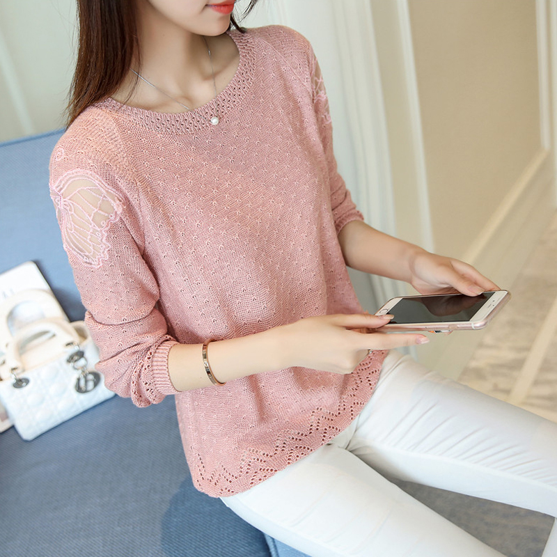 Net red sweater womens T-shirt spring wear 2019 new Korean Short loose hollow thin bottomed top fashion